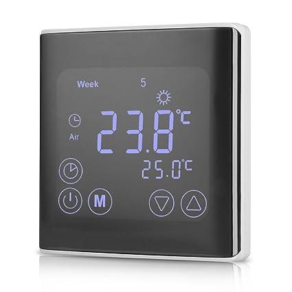 WELQUIC Termostatos Calefaccion de la Pantalla Táctil LCD con Retroiluminación Termostato para calefacción por Suelo Radiante