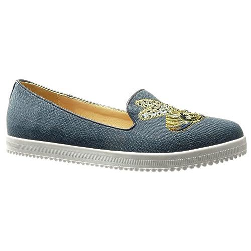 Angkorly - Zapatillas Moda Mocasines Jeans Denim Slip-on Suela de Zapatillas Mujer Bordado Strass fantasía tacón Plano 0 CM: Amazon.es: Zapatos y ...