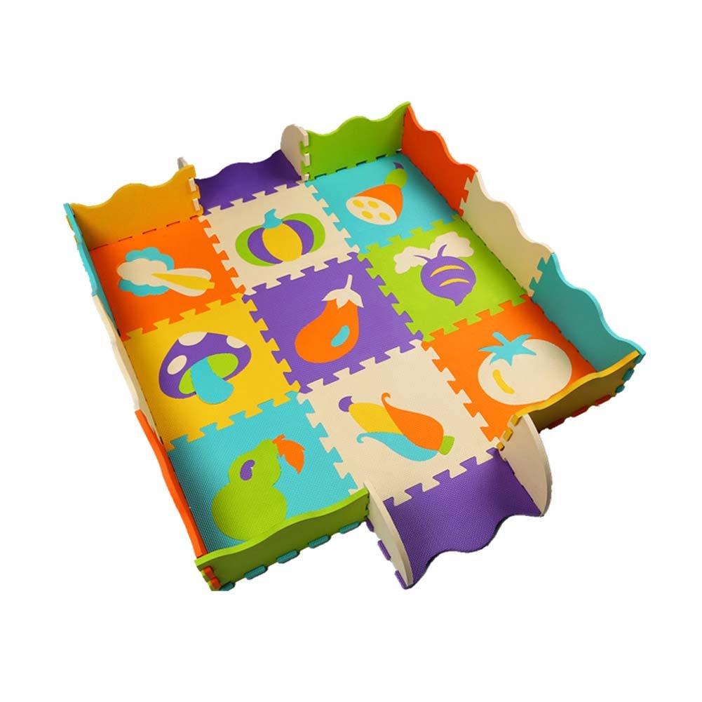 9 Pieces of Waterproof Children Foam Mats Baby Foam Puzzle Play Mat,Vegetable