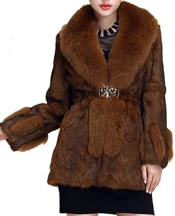 Helan femmes Longue lapin reel Manteau de fourrure avec Big