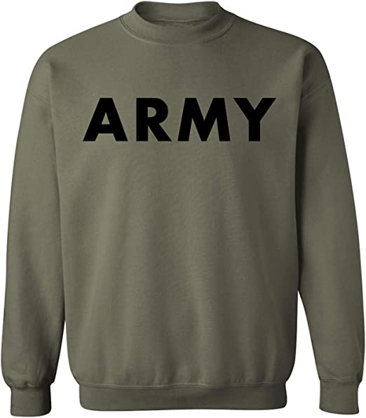 Athletic ARMY Crewneck Sweatshirt in Military Green Adult Small 5X