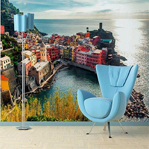 LHDLily 3D Wallpaper Mural Wall Sticker Thickening Wedding Decoration Custom Sofa Bedroom Tv Backdrop Mediterranean City Water Photo 400cmX300cm