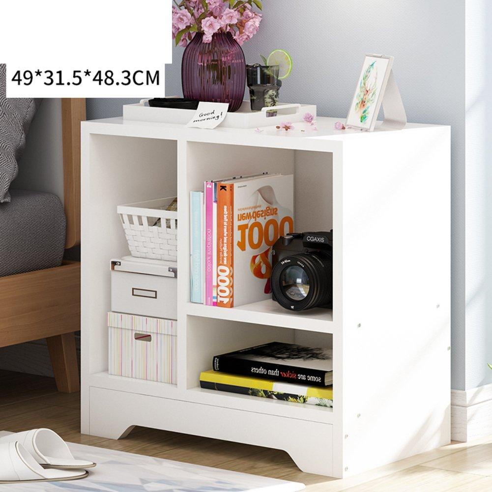 Log color bedside table Simple modern Multifunction Simple bedside table [lockers] Wood density board-A