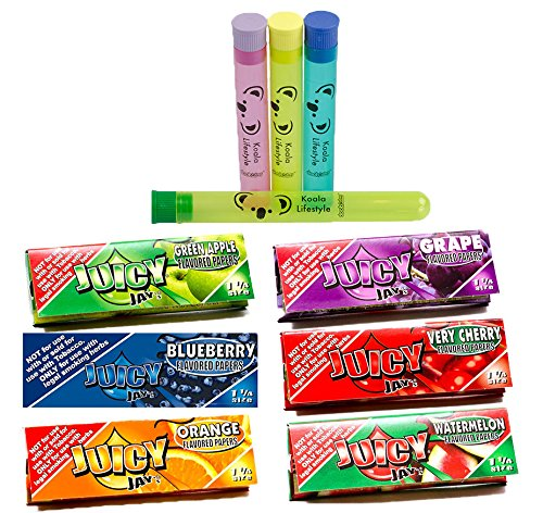Juicy Jay's Mixed 1 1/4 Flavored Cigarette Rolling Papers Variety Pack (32 Pack x 6 = 192 Papers) | Bundle with 4 Koala Doob Tubes - Classics Flavor