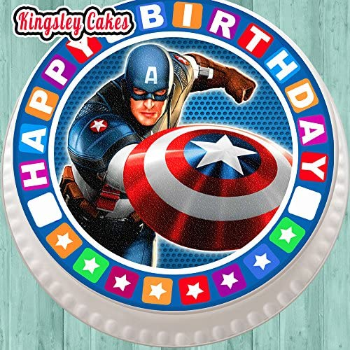 Edible Round Cake Topper Captain America Topper icing sheet.46 wafer sheet