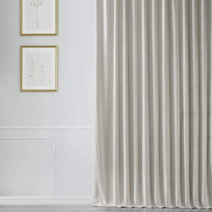 HPD Half Price Drapes VPCH-VET160401-96 Signature Extra Wide Blackout Velvet Curtain (1 Panel), 100 X 96, Reflection Grey