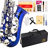 Glory Blue/Silver keys E Flat Alto Saxophone with 11reeds,8 Pads cushions,case,carekit-More Colors with Silver or Gold keys