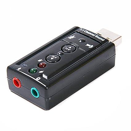 Dynamode USB-SOUND7 - Tarjeta de Sonido Externa (Indicadores LED, USB, 7.1), Negro