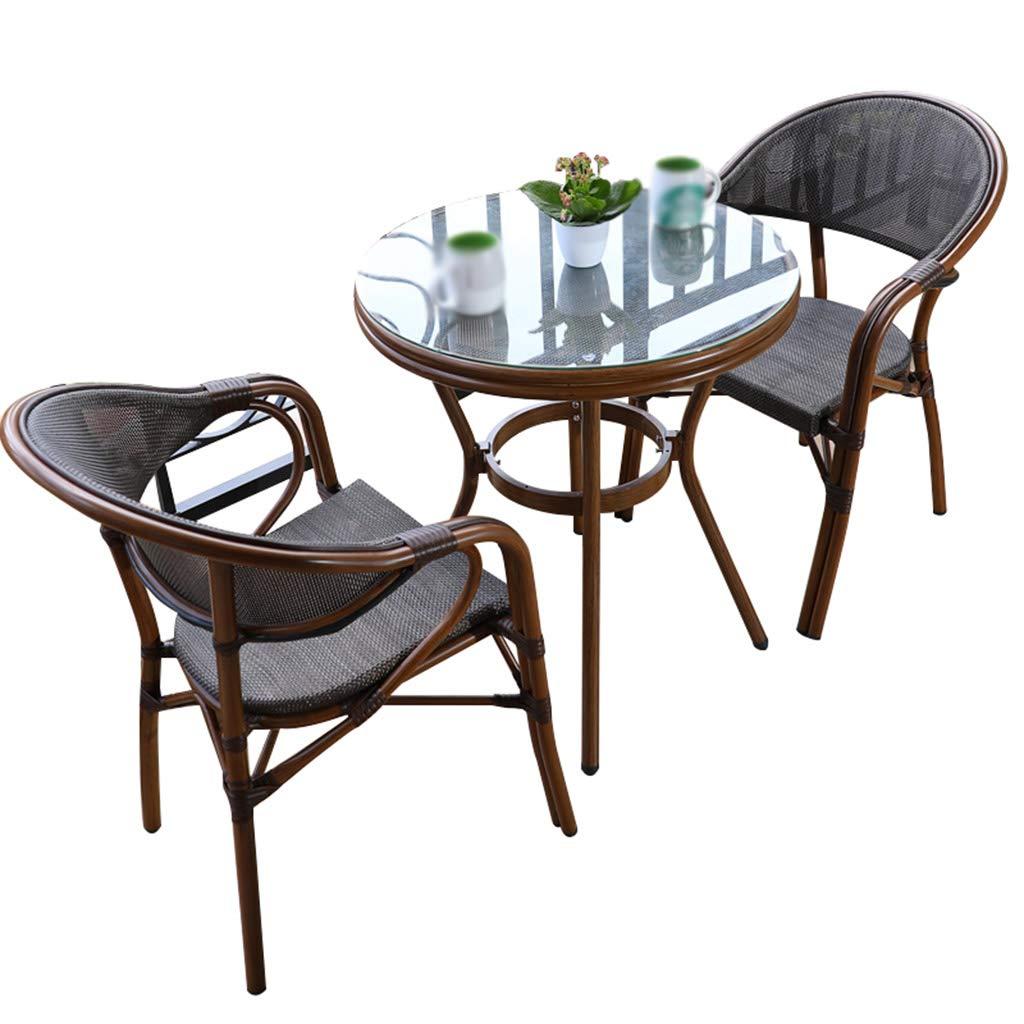 XLOO Gartenmöbel Set,Allwetter-Esstisch mit quadratischen Stühlen für den Außenbereich, Doppelrohrhalterung aus Aluminiumlegierung, atmungsaktive Netzrückenlehne, Patio, Garten