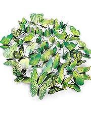 Foonii 72 stuks 3D vlinders wanddecoratie stickers stickers, stootvaste kunststof vlinderdecoraties, wanddecoratie