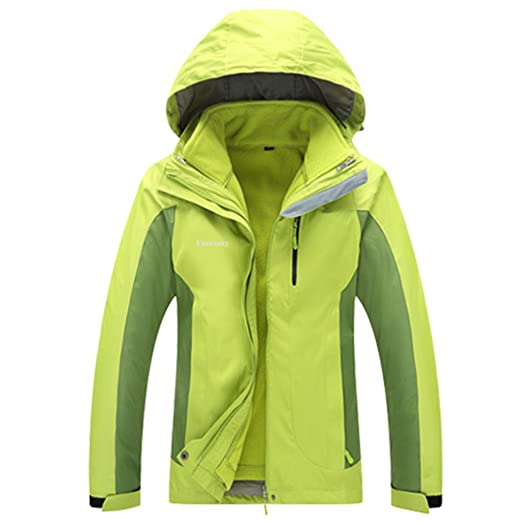 Kacco Women Winter 2 Pieces Waterproof Softshell Hiking Camping Trekking Outdoor Jackets Fleece Warm Hooded Coat Chaqueta at Amazon Womens Clothing store: