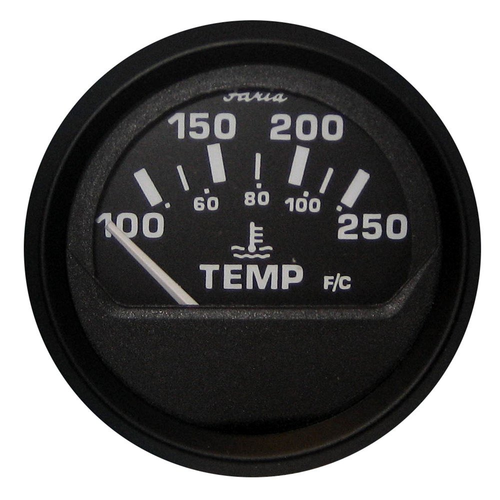 Faria Euro Black 2'' Water Temperature Gauge (100-250°F)