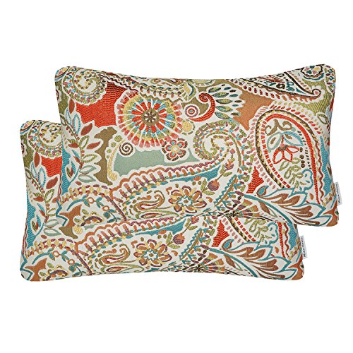 Mika Home Pack of 2 Oblong Rectangular Throw Pillow Cover Cushion Cases for Sofa Couch Chair,Paisley Pattern,12x20 Inches,Red Teal Cream Multicolor ()