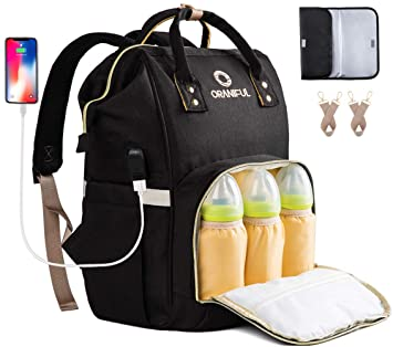 USB Charging Port Dad Waterproof with Front Baby Seat Large Capacity Travel Backpacks Multi-use for Mom Nappy Changing Bag Baby Diaper Backpack//Rucksack