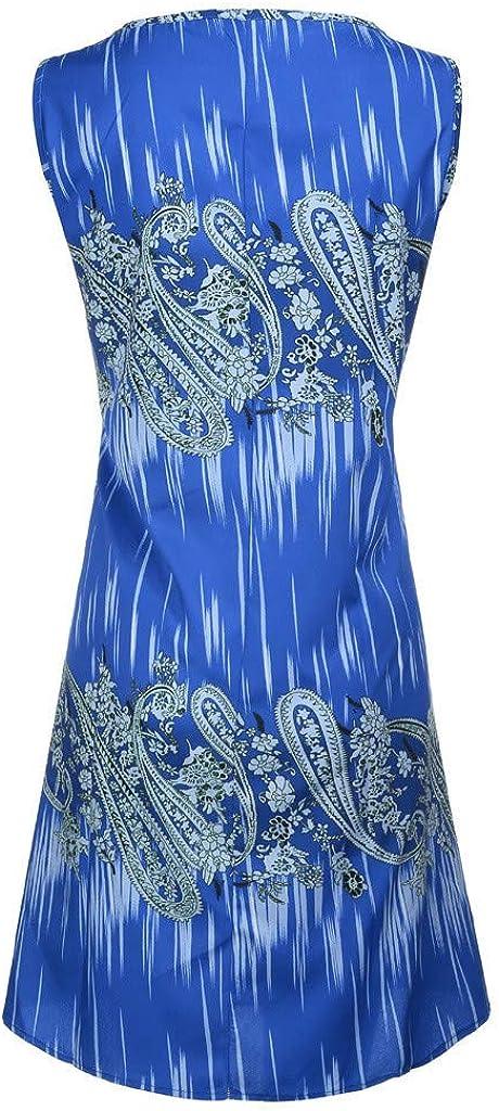 Bringbring Mode Femmes Plus Size Col Rond Impreesion Gilet sans Manches l/âche Mini Dress Robes de Plage pour Femme