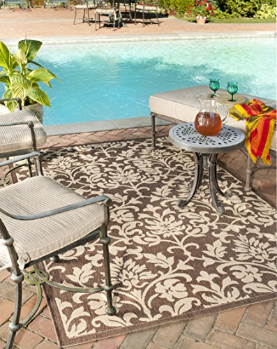 - Safavieh Courtyard Collection CY3416-3409 Chocolate and Natural Indoor/ Outdoor Area Rug (5'3