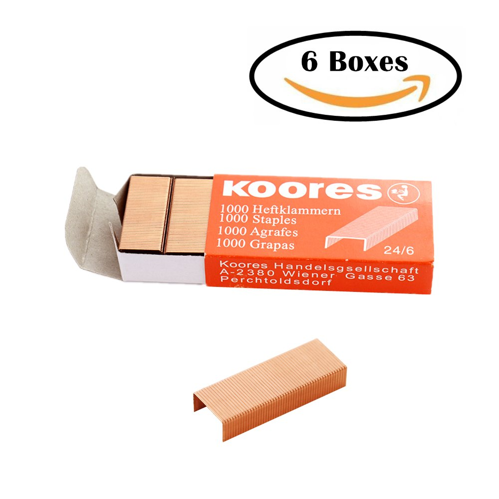 MEI YI TIAN 24/6 Standard Staples, Rose Gold Staples Set, 12mm Width 1000 Count per Box, 6 Boxes/Pack 6000 Count (6)