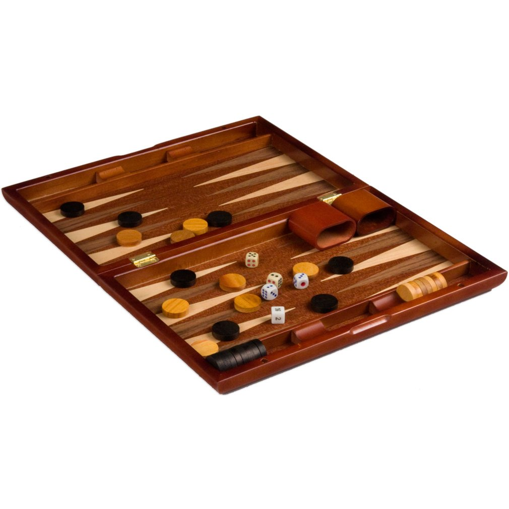 amazoncom piano lacquer backgammon game set with wood inlay 13u201d toys u0026 games - Backgammon Game