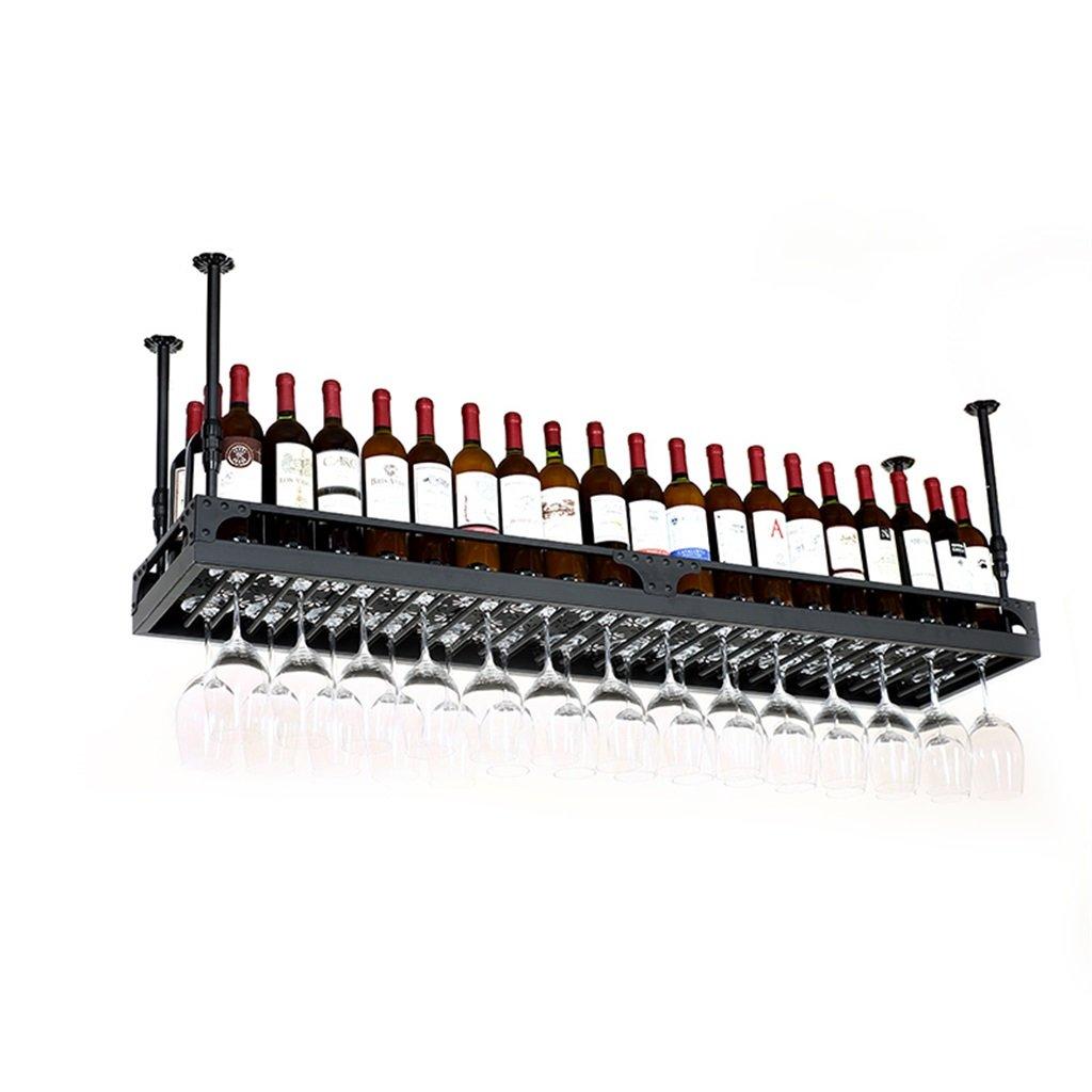 棚 ワインラック調整可能な高さ、天井取り付け吊りワインボトルホルダー金属鉄ワイングラスラックゴブレットステムウェアラック - 様々なサイズを用意 (色 : 黒, サイズ さいず : 100*35cm) B07NWQ3JGL 黒 100*35cm