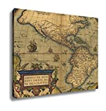 Ashley Canvas Antique Map Of North And South America, Wall Art Home Decor, Ready to Hang, 16x20, AG6264595