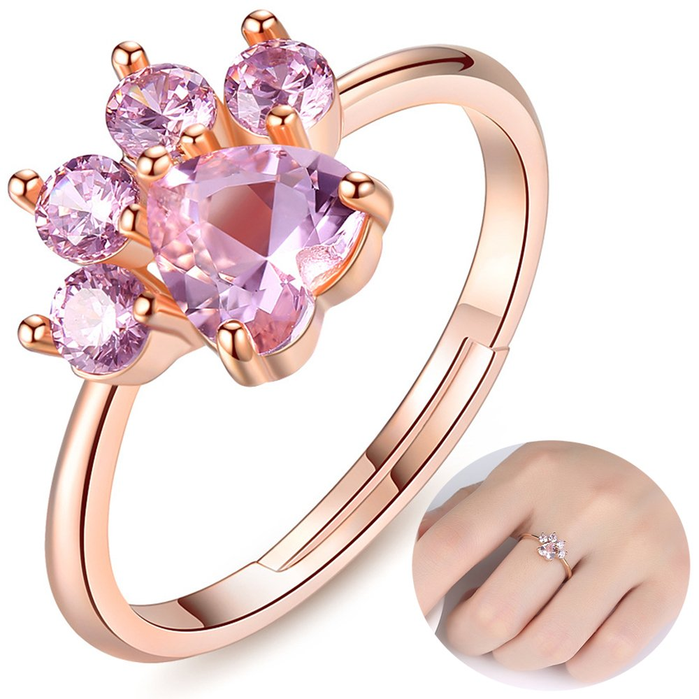 NEW-EC Pet Cat Dog Bear Paw Rings for Women Teens Girls Cute Rose Gold Simple Adjustable Heart-Shaped Pink Zircon Lovely Promise Copper Rings for Arthritis Women Girlfriends Her Ladies Bridal B07DKCYTWS_US