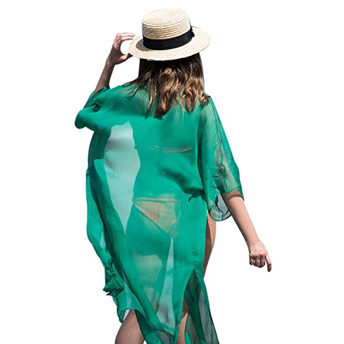OHQ Las Mujeres Gasa 3/4 Mangas del Chal del Kimono del Chaleco Cubren el