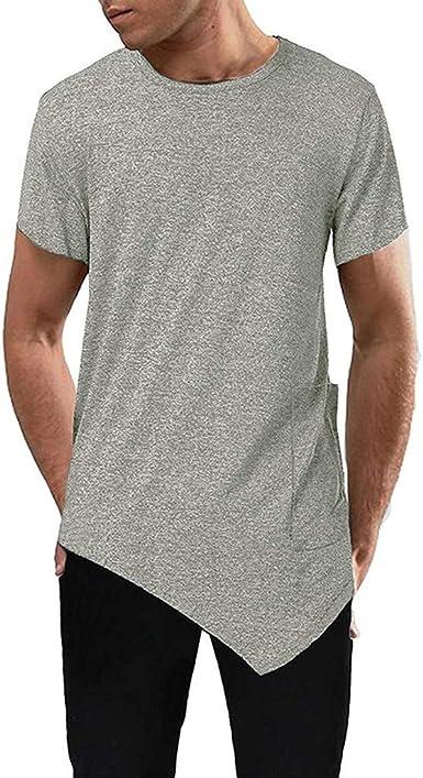 AIMEE7 Ropa Hombre Camiseta algodón de Manga Corta de Color sólido ...