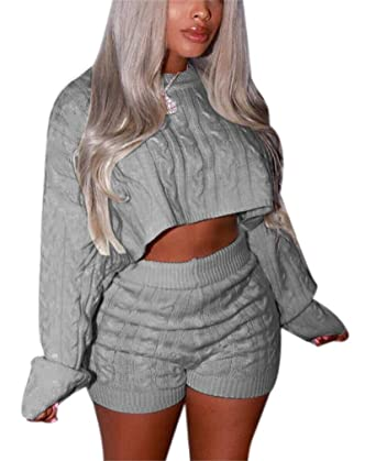 a7d73b1232c DingAng Women s 2 Piece Outfits Sexy Sweater Long Sleeve Crop Top Shorts  Pants Bodycon Jumpsuit Set at Amazon Women s Clothing store