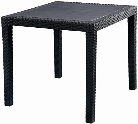 Oferta amazon: IPAE-PROGARDEN 8330121 - Mesa Resina Ratan Antracita King 80x80 cm