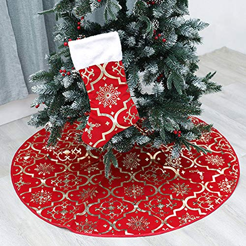 wlflash Christmas Tree Skirt 48 inches Snowy Pattern Xmas Tree Skirt for Christmas Tree Decorations Indoor Outdoor (Red) (Christmas Snowy Decorations)
