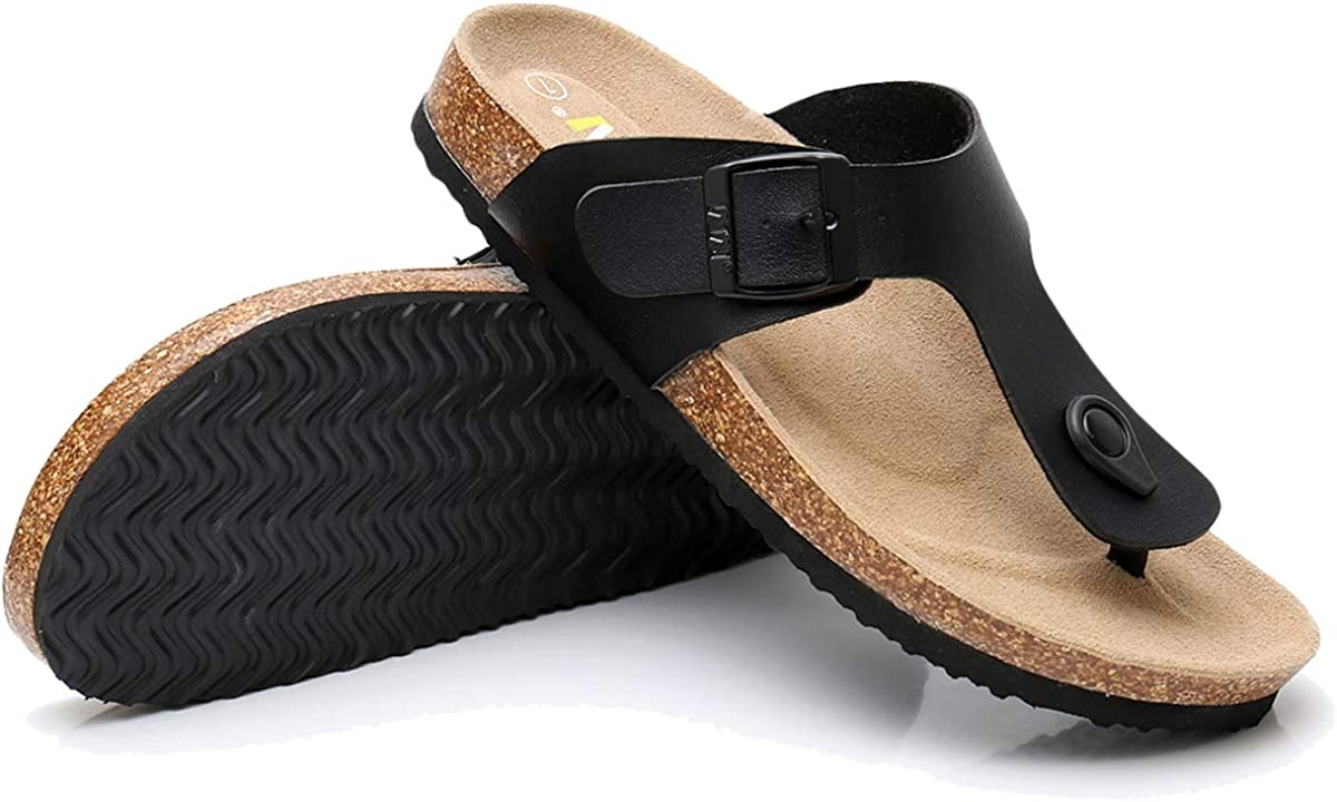 Slid-on Cork Footbed Sandals with Double Metal Adjustable Buckles Causal Style WTW Mens Arizona 2-Strap PU Leather Platform Sandals