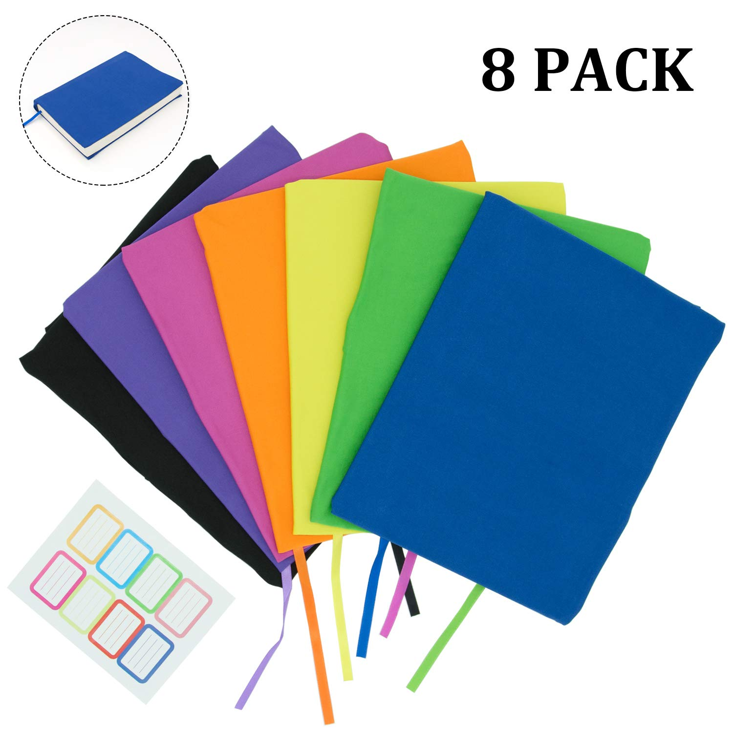 KIMCOME Jumbo Book Covers 8 Pack, Stretchable Book Sox Suitable for Most Hardcover Books, Up to 9.5''x14'' Durable and Washable, Reusable Protective Textbook Covers with Label Sticker