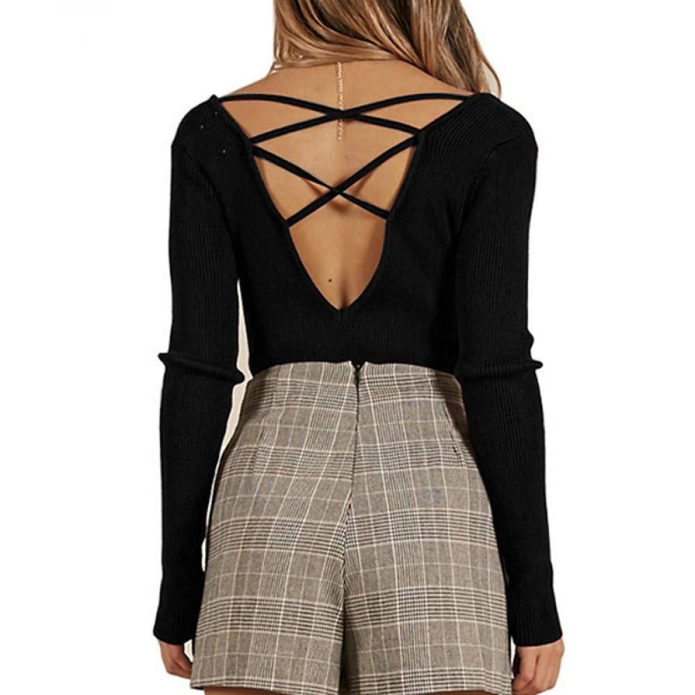FUHENGMY Pullover Backless Sexy Pullover Tops Frauen Herbst V-Ausschnitt Lässige Pullover Gestrickte Langarmshirts Damen Pullover Streetwear