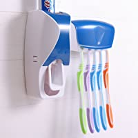 P36AS Plastic Toothpaste Dispenser Tooth Brush Holder Set Wall Mount Rack