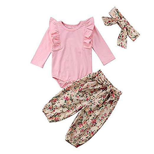 1ed75d969d803 Amazon.com: 2019 New Summer G-Real 3PCs Baby Girls Romper Top+Floral ...