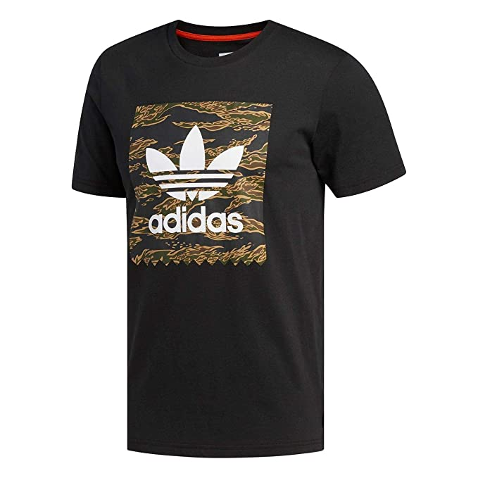 adidas Originals - Camiseta - para Hombre Negro Black/Camo Print/Collegiate Orange X