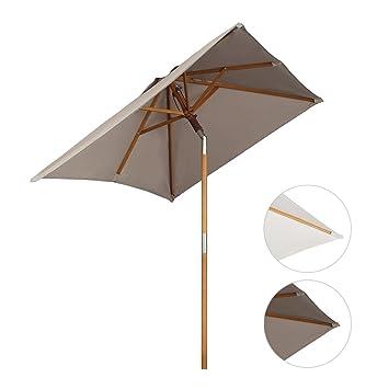 sekey sombrilla parasol de madera para terraza jardn playa piscina patio  cm