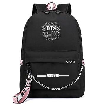 Kerlana Unisex BTS con USB Puerto de Carga para Mujeres y Hombres Mochilas Escolares Mochila de Lona Portátil School Bag: Amazon.es: Equipaje