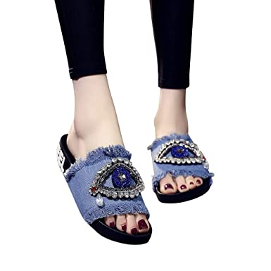 d6c969b2ae1 Womens Slides Crystal Flat Sandals Slippers Comfortable Beach Slippers Shoes  for Summer (Light Blue