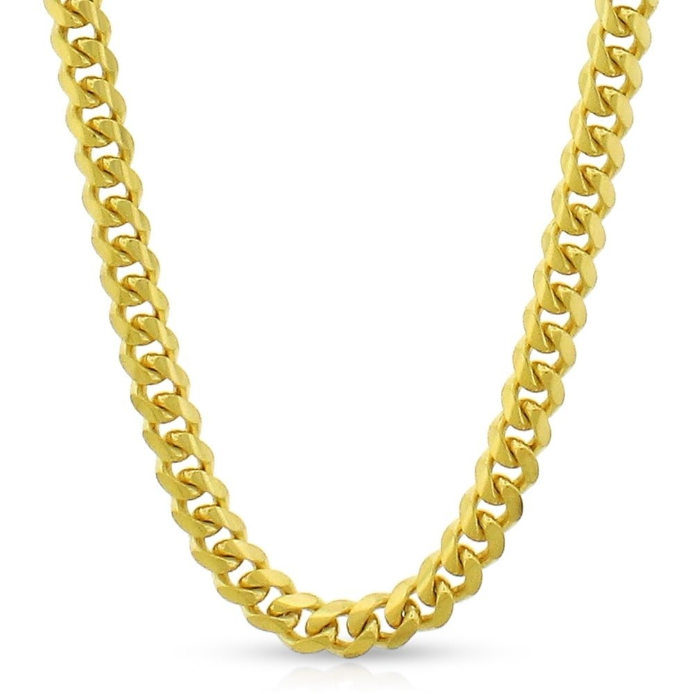 10k Yellow Gold 5mm Solid Miami Cuban Curb Link Necklace Chain 20'' - 30'' (24)