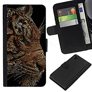 EJOY---La carpeta del tirón la caja de cuero de alta calidad de la PU Caso protector / Sony Xperia Z2 D6502 / --Arte del tigre