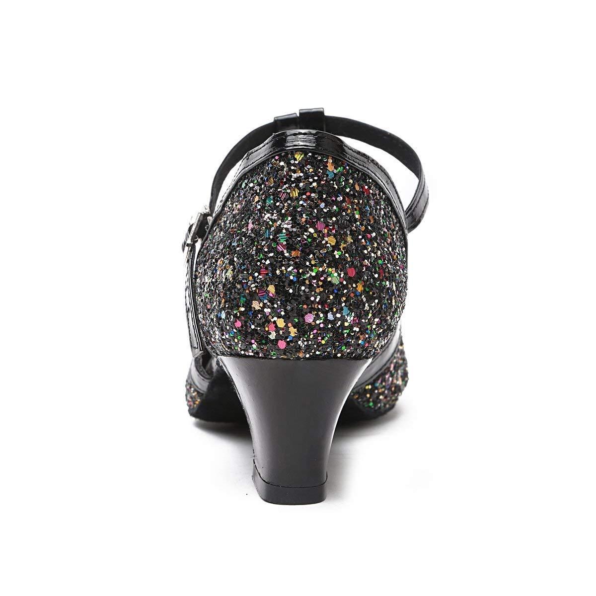 Qiusa Frauen T-Strap Flarot Heel Glitter Glitter Glitter Latin Ballroom Tanzschuhe Party Pumps (Farbe   schwarz-5cm Heel Größe   7.5 UK) 1b9c37