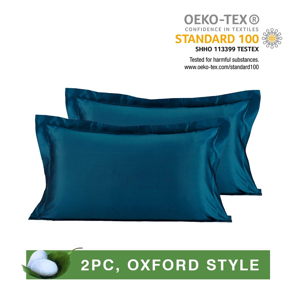 LILYSILK Pair of 19 Momme Oxford Silk Pillowcases for Hair 100 Real Mulberry Pure Mulberry Silk 2pcs Royal Blue King 20x36
