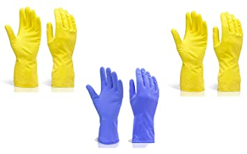 DeoDap Reusable Rubber Stretchable Hand Gloves, for Washing Cleaning Kitchen Garden, 3-Pair (Colour May Vary)