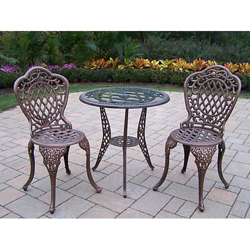 Oakland Living Mississippi 3pc Glass Top Bistro Set Antique BRZ