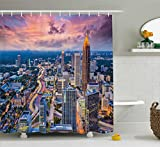 Ambesonne Modern Shower Curtain, Atlanta City Skyline at Sunset with Hazy Light Georgia Town American View, Fabric Bathroom Decor Set with Hooks, 70 Inches, Baby Pink Blue Silver
