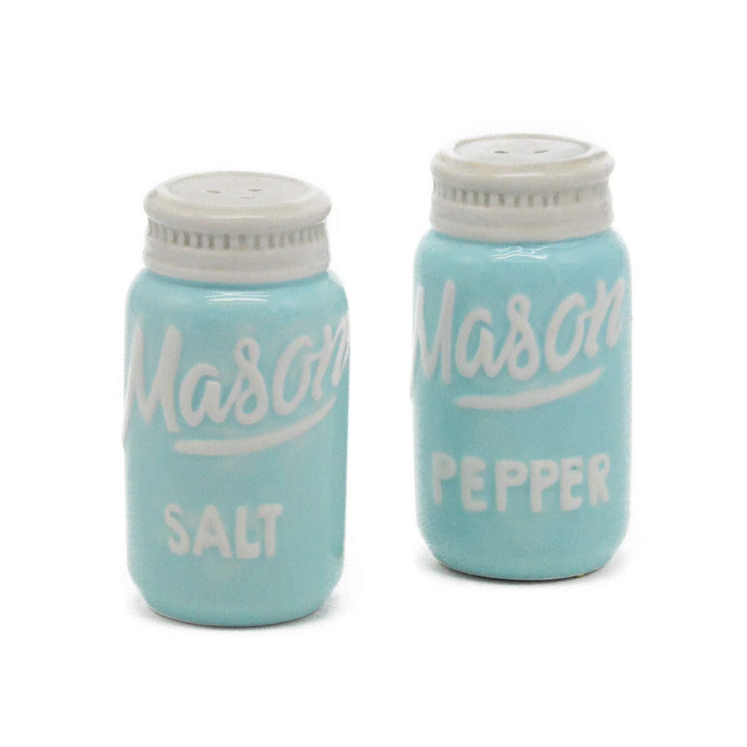 Blue Mason Jar Salt & Pepper Shakers - Kitchen Ceramic Shakers   Retro & Farmhouse Decor   Dishwasher & Microwave Safe   Set of 2   Baking Supplies  Rustic Home Accessory & Gifts by Goodscious