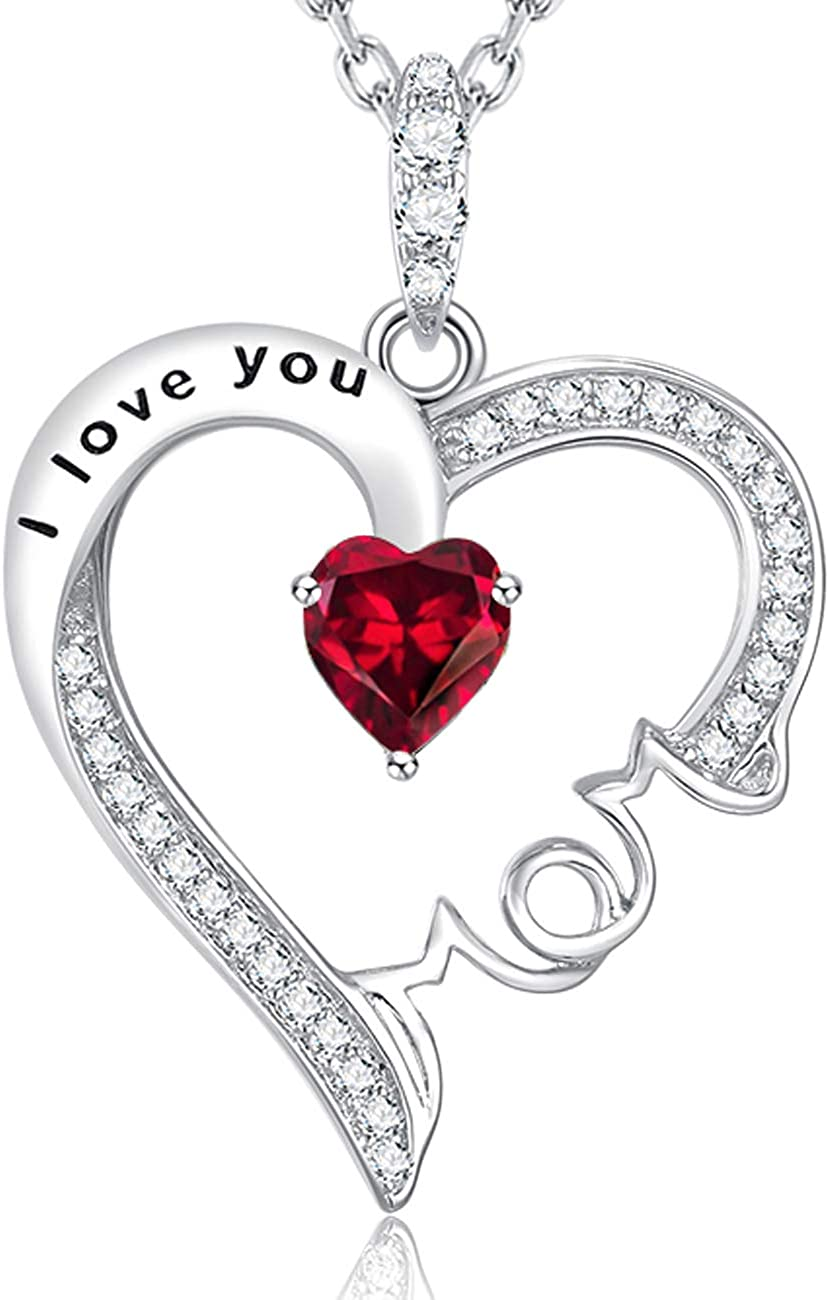 July Birthstone Ruby Jewelry I Love You Mom Necklace Birthday Gifts for Wife Mom Love Heart Pearl Simulated Diamond Sterling Silver Jewelry