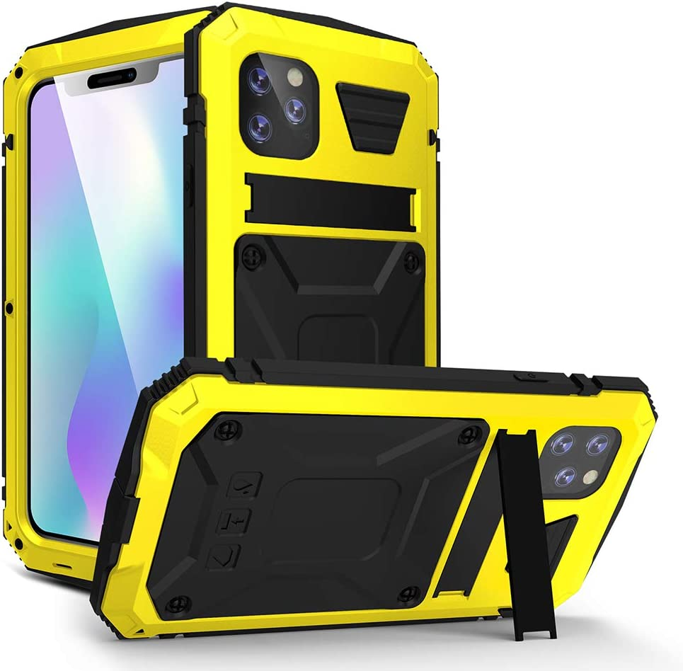 WintMing iPhone XR Aluminum Case Built-in Screen Protector Shockproof Waterproof Case Military Grade Full Body Protective Case with Kickstand for iPhone XR 6.1