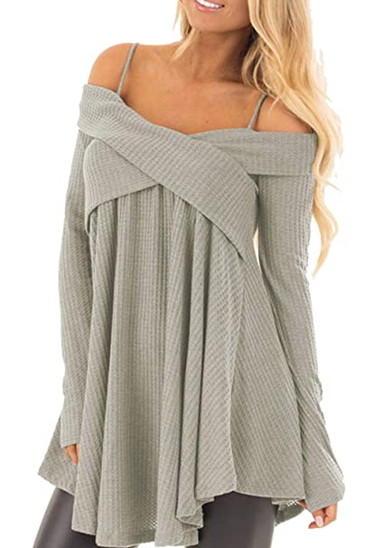 f28573d0bec42 Spring Tunics Spaghetti Strap Tops Party Blouses for Women Plus Size Cold  Shoulder Long Sleeve Crossover Sweater Knit Pullover Wrap Ruffle Pleated  Tunic Top ...